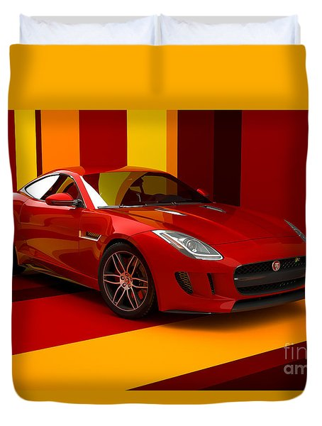 Jaguar F-type - Red Retro Duvet Cover