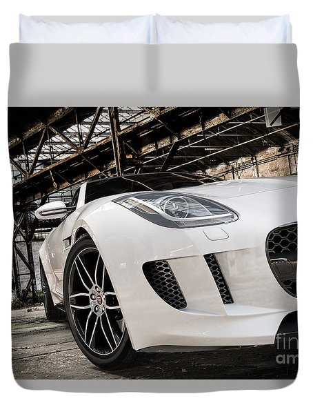 Jaguar F-type - White - Front Close-up Duvet Cover