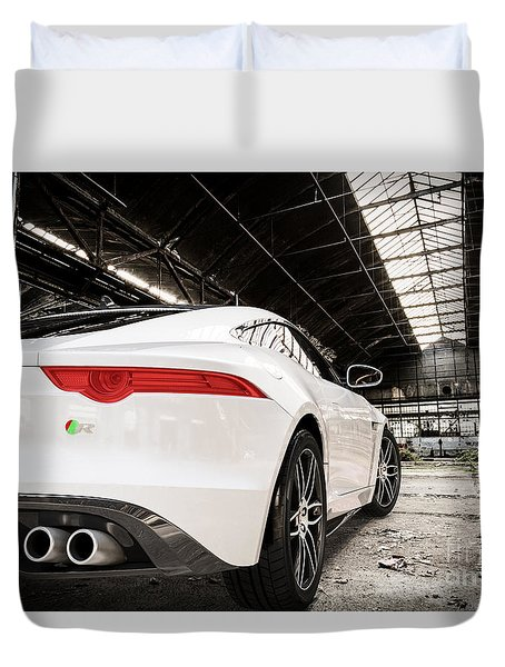 Jaguar F-type - White - Rear Close-up Duvet Cover