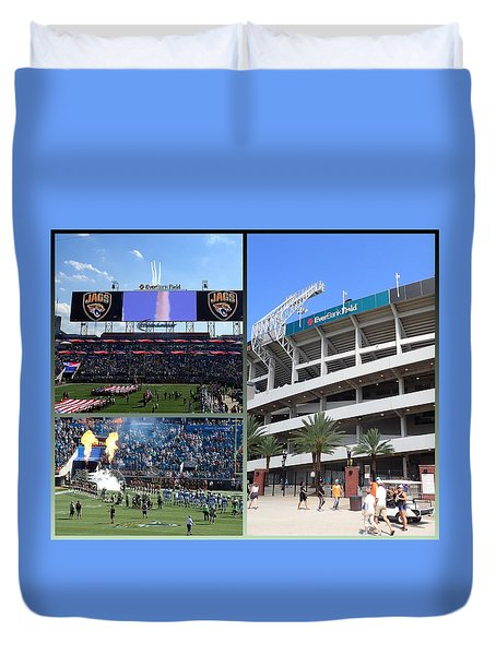 Duvet Cover featuring the photograph Jaguar Football by Farol Tomson