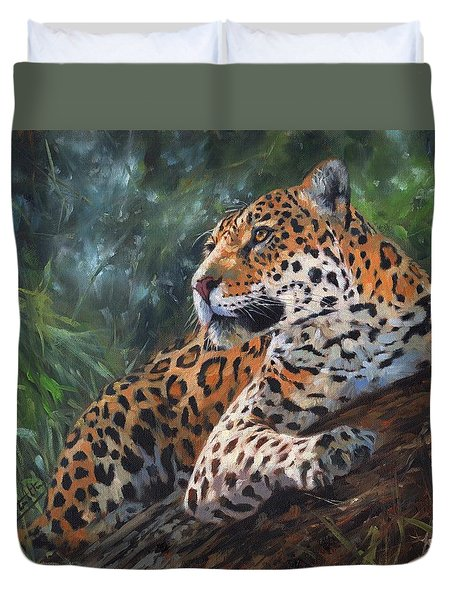 Duvet Cover featuring the painting Jaguar In Tree by David Stribbling