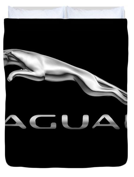 Duvet Cover featuring the photograph Jaguar Logo by Ericamaxine Price