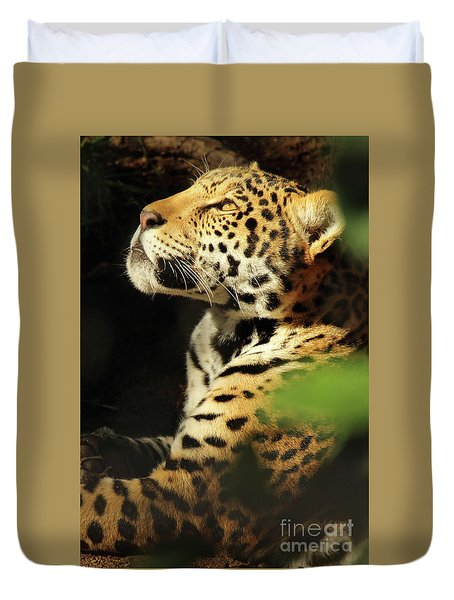Jaguar Looking Up Duvet Cover