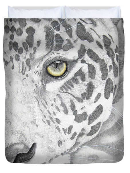 Duvet Cover featuring the drawing Jaguar by Mayhem Mediums
