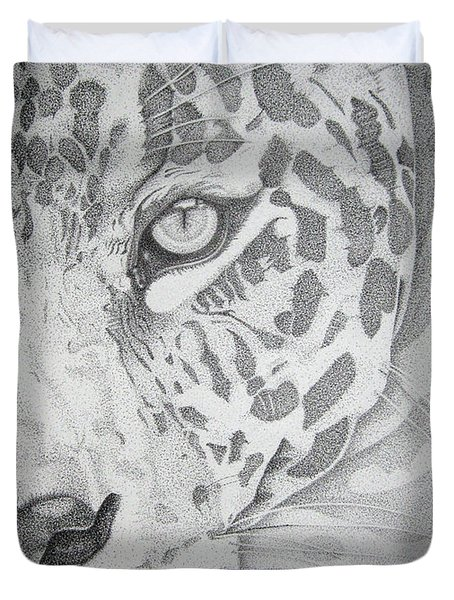 Jaguar Pointillism Duvet Cover