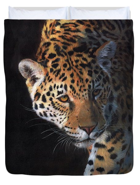 Duvet Cover featuring the painting Jaguar Portrait by David Stribbling