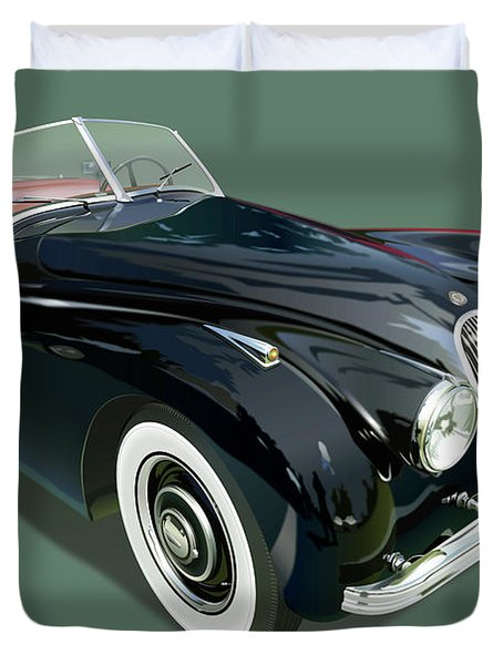 Jaguar Xk 120 Illustration Duvet Cover