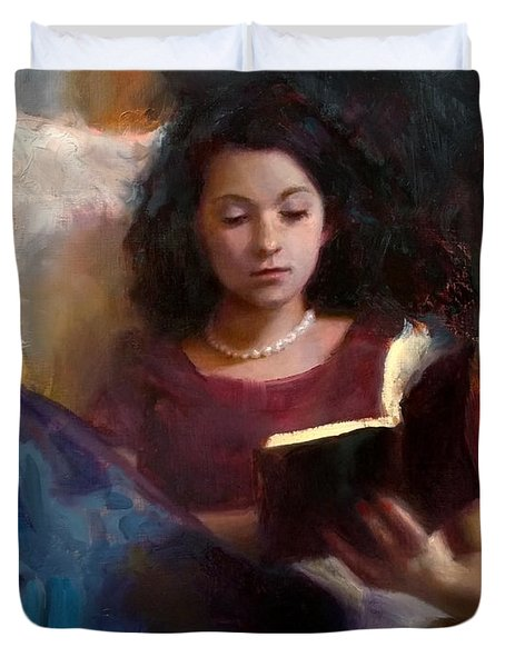 Jaidyn Reading A Book 1 - Portrait Of Young Woman - Girls Who Read - Books In Art Duvet Cover