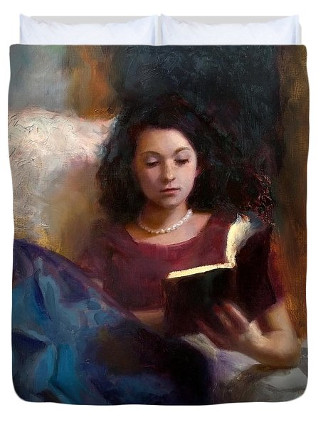 Jaidyn Reading A Book 1 - Portrait Of Young Woman Duvet Cover