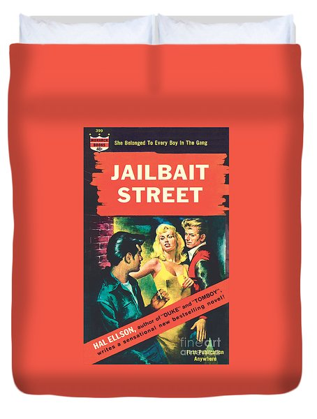 Duvet Cover featuring the painting Jailbait Street by Ray Johnson