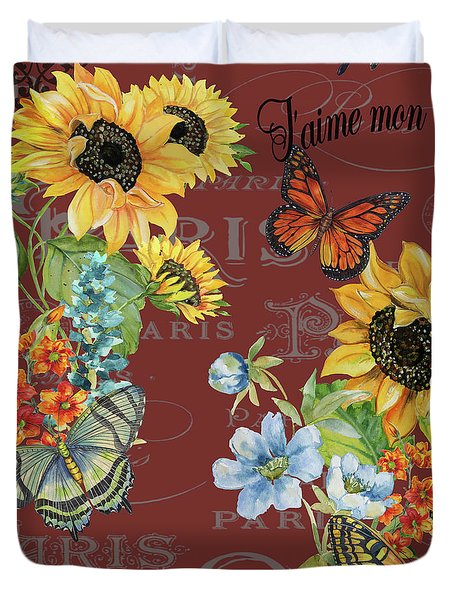 Duvet Cover featuring the painting Jaime Mon Jardin-jp3988 by Jean Plout