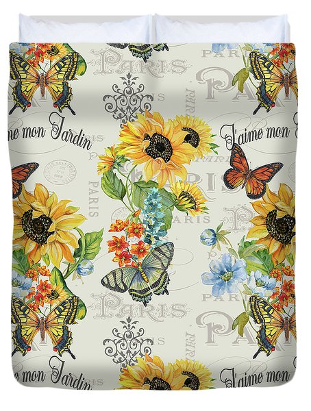 Duvet Cover featuring the painting Jaime Mon Jardin-jp3989 by Jean Plout