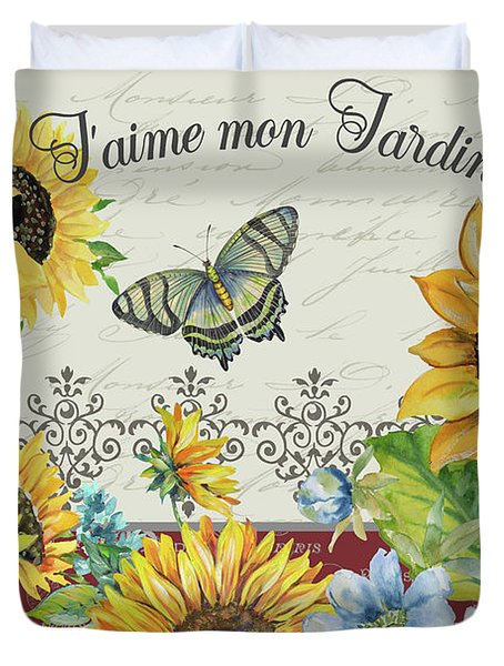 Duvet Cover featuring the painting Jaime Mon Jardin-jp3990 by Jean Plout