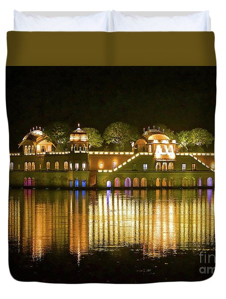 Jal Palace At Night Duvet Cover