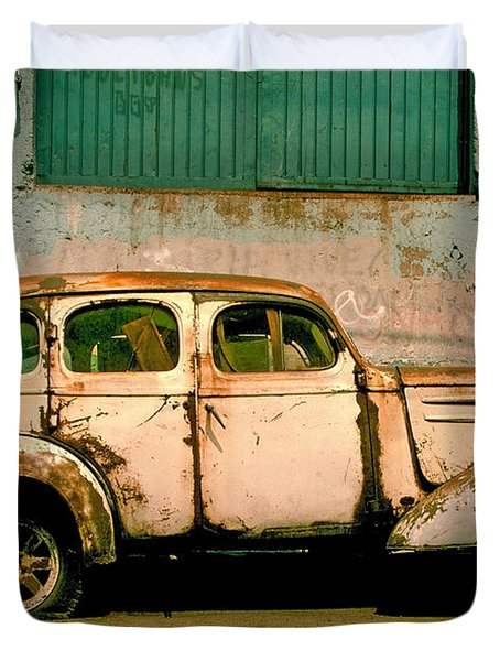 Duvet Cover featuring the photograph Jalopy by Skip Hunt