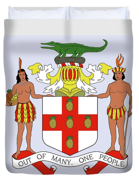 Jamaica Coat Of Arms Duvet Cover by Movie Poster Prints