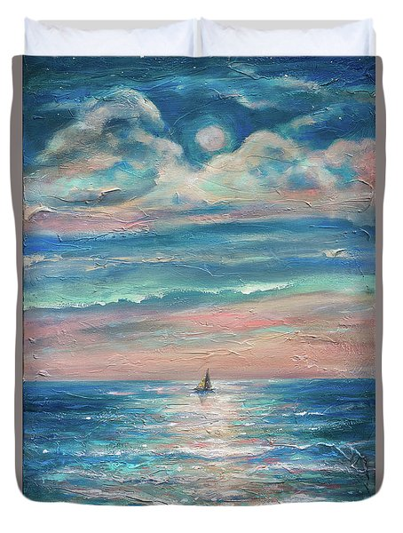 Jamaican Moonrise Duvet Cover by Linda Olsen