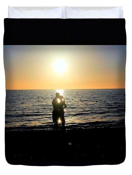 Jamaican Sunset Kiss By Steve Ellenburg Duvet Cover by Steve Ellenburg
