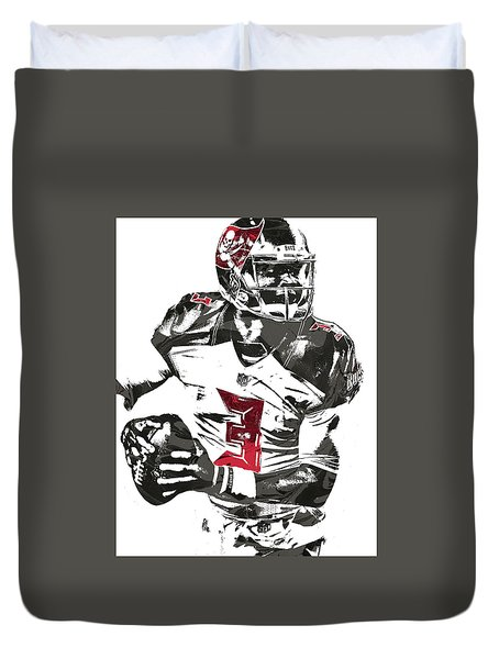 Duvet Cover featuring the mixed media Jameis Winston Tampa Bay Buccaneers Pixel Art by Joe Hamilton