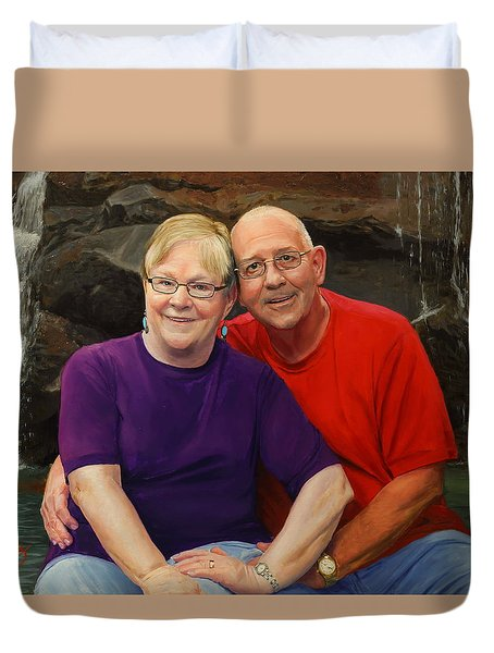 Duvet Cover featuring the painting James And Judy Ballard by Glenn Beasley