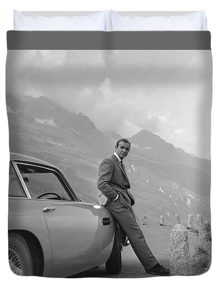 James Bond And His Aston Martin Duvet Cover