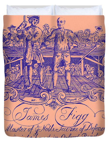 James Figg Advertisement By William Hogarth, Colorized Duvet Cover