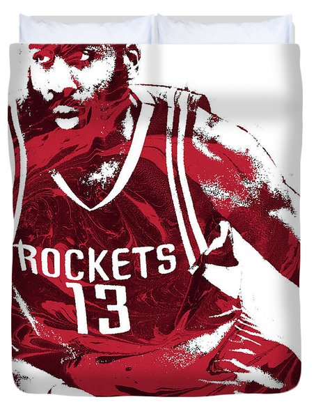 James Harden Houston Rockets Pixel Art 3 Duvet Cover