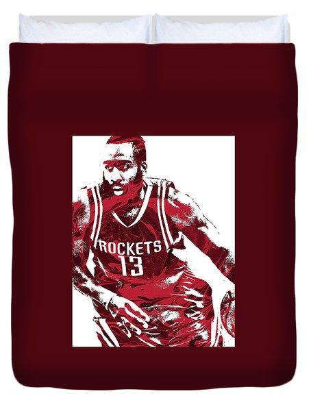 James Harden Houston Rockets Pixel Art 3 Duvet Cover