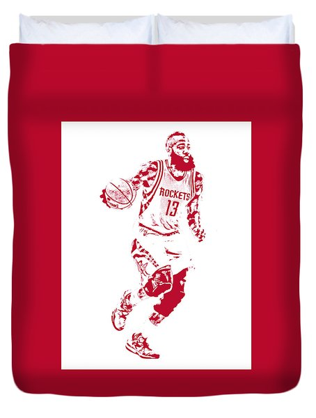 James Harden Houston Rockets Pixel Art Duvet Cover
