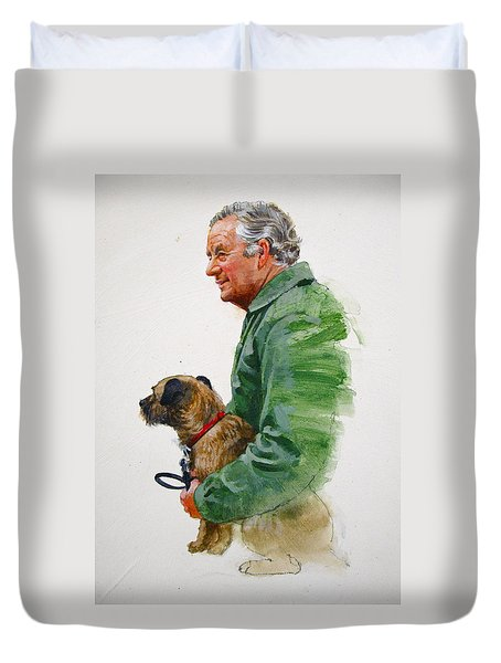 Duvet Cover featuring the painting James Herriot And Bodie by Cliff Spohn