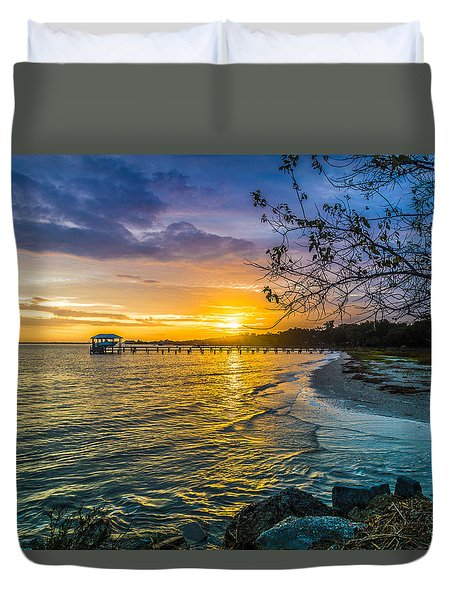 James Island Sunrise - Melton Peter Demetre Park Duvet Cover