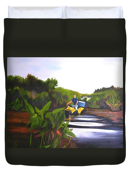 James On Fourwheeler Duvet Cover