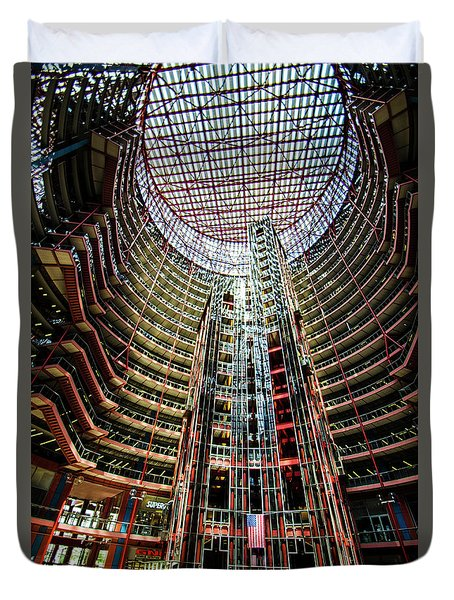 Duvet Cover featuring the photograph James R Thompson Center Interior Chicago by Deborah Smolinske