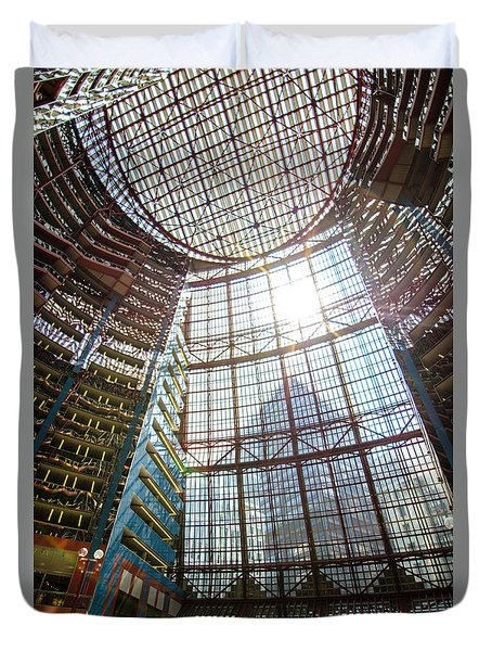 Duvet Cover featuring the photograph James R Thompson Center Interior II Chicago by Deborah Smolinske