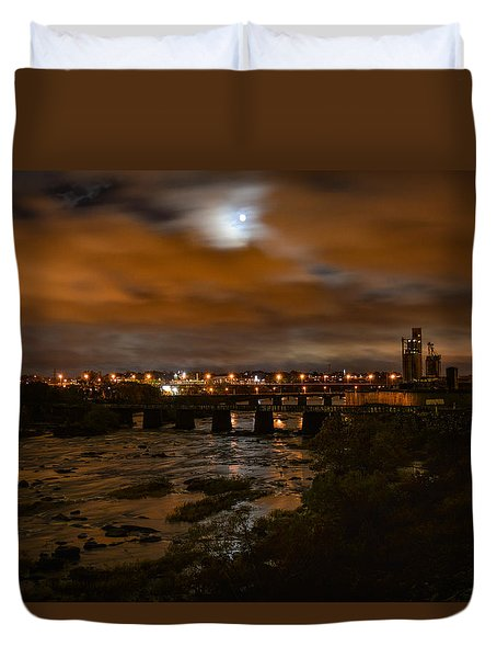 James River At Night Duvet Cover