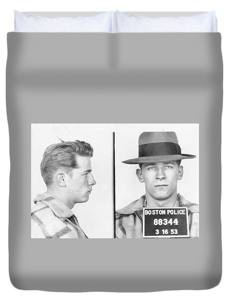 Duvet Cover featuring the mixed media James Whitey Bulger Mug Shot by Dan Sproul