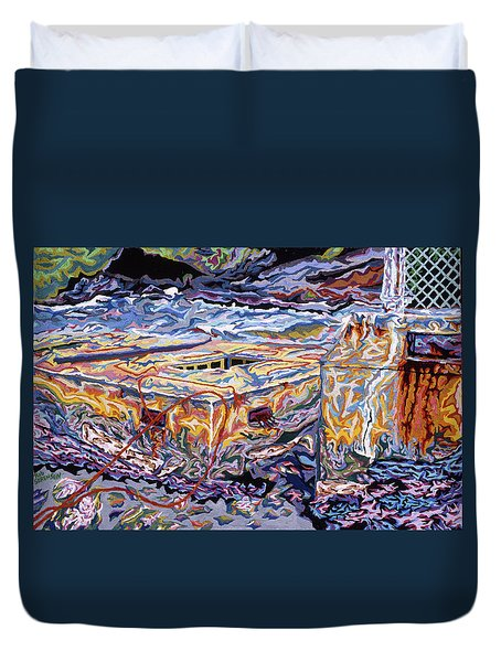 Jamestown Sea Construction Site Duvet Cover by Robert SORENSEN