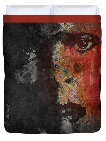Duvet Cover featuring the painting Jamming Good With Wierd And Gilly by Paul Lovering
