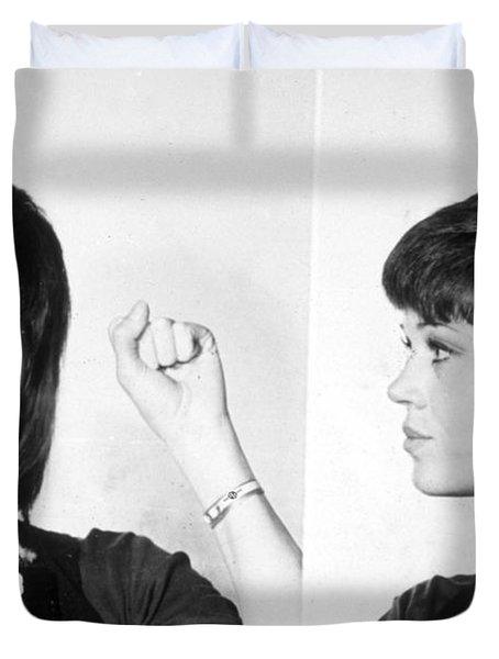 Jane Fonda Mug Shot Horizontal Duvet Cover