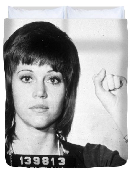 Jane Fonda Mug Shot Vertical Duvet Cover by Tony Rubino