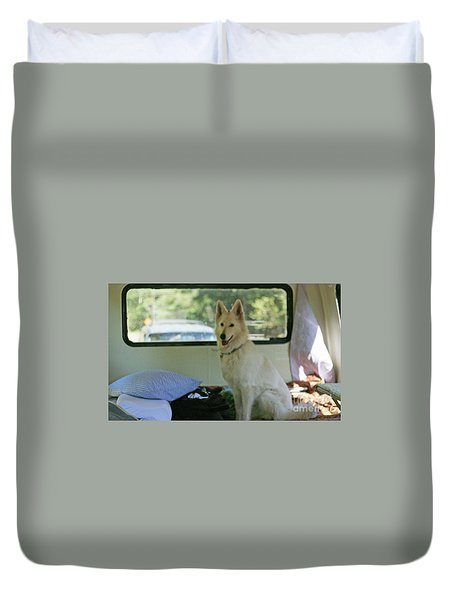 Jane Riding In The Bus Camping At Cape Lookout Duvet Cover