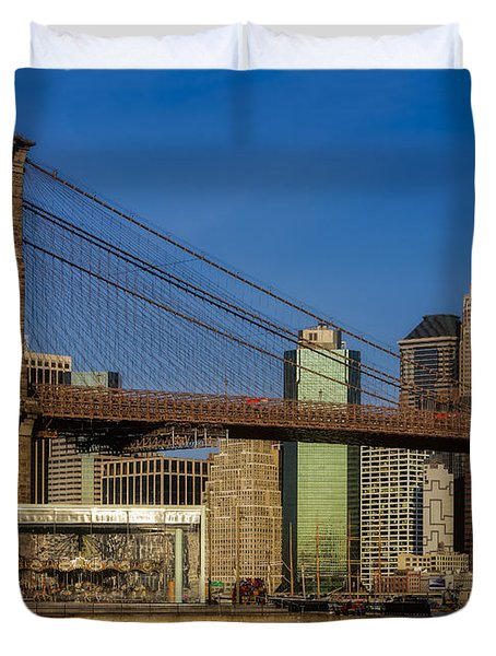 Jane's Carousel Brooklyn Bridge Nyc Duvet Cover