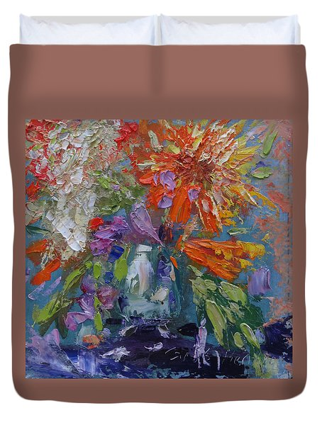 Duvet Cover featuring the painting Jane's Wildflowers by Carol Berning