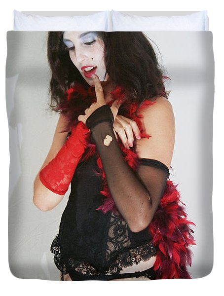 Janet Weiss During A Rhps Performance 2 Duvet Cover