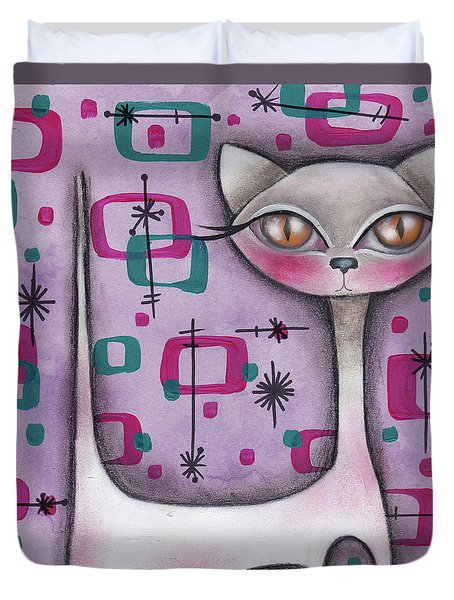 Janice Cat Duvet Cover by Abril Andrade Griffith