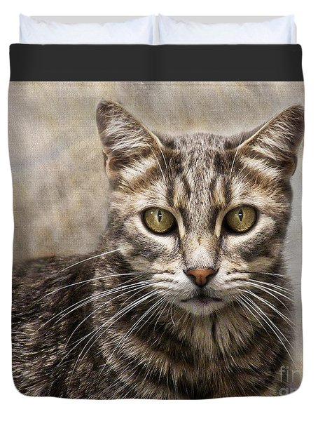 Duvet Cover featuring the digital art Janie's Kitty by Rhonda Strickland