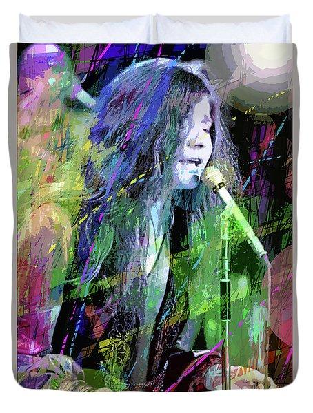 Janis Joplin Blue Duvet Cover