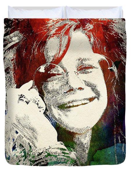 Janis Joplin Portrait Duvet Cover
