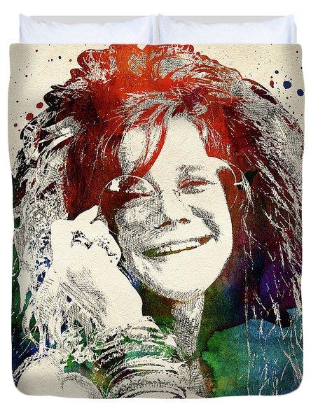 Janis Joplin Duvet Cover by Mihaela Pater