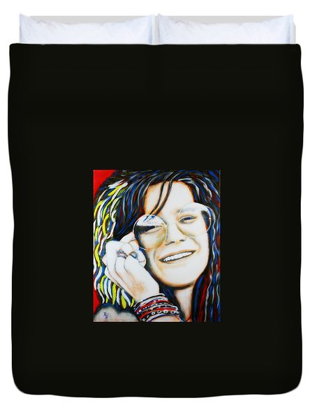 Janis Joplin Pop Art Portrait Duvet Cover